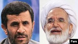 President Mahmud Ahmadinejad (left) and Mehdi Karrubi, former parliament speaker, faced off on June 6.