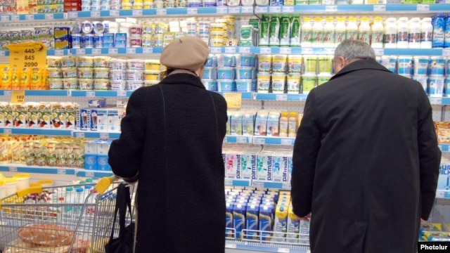 Armenia - Shoppers at a food supermarket in Yerevan.