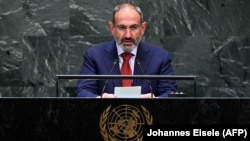 U.S. -- Armenian Prime Minister Nikol Pashinian speaks during the 74th Session of the General Assembly at the United Nations headquarters in New York, September 25, 2019