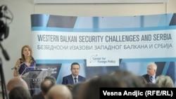"""Konferenca """"Sfidat e sigurisë në Ballkanin Perëndimor"""" në Beograd, ku ishte i pranishëm ambasadori amerikan Kyle Scott"""