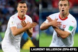 "A composite photos showing the ""double-eagle"" goal celebrations of Granit Xhaka (left) and Xherdan Shaqiri after they scored against Serbia at the World Cup."