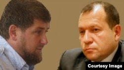 Chechen leader Ramzan Kadyrov (left) and Igor Kalyapin, head of the Committee to Prevent Torture (KPP)