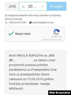 """Na spisku """"podržavalaca"""" kandidata Vasilija Miličkovića našao se bez svog znanja i novinar RSE Nikola Borozan"""