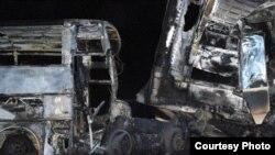 Алматы-Екатеринбург тас жолында болған жол апатынан 11 адам қаза тапты. 13 қазан 2010 жыл. Қарағанды облыстық жол полициясының қорындағы сурет.