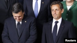 "European Commission President Jose Manuel Barroso (left) and French President Nicolas Sarkozy reportedly engaged in a ""fierce exchange"" at the summit in Brussels."