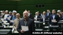 Former IRGC commander and the new Parliament speaker Mohammad Bagher Qalibaf in the opening ceremony of new parliamentary term on May 28, 2020.