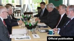 Poland - The OSCE Minsk Group co-chairs meet with Armenian Foreign Minister Edward Nalbandian in Krakow, 17May2013.