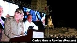 Фидель Кастроның қазасына байланысты қаралы жиында сөйлеп тұрған Куба президенті Рауль Кастроның телеэкраннан көрсетілген бейнесі. Революция алаңы, Гавана, 29 қараша 2016 жыл.