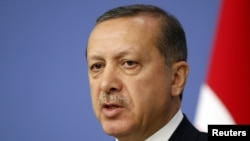Turkey -- Turkey's Prime Minister Tayyip Erdogan addresses the media in Ankara, 19Oct2011