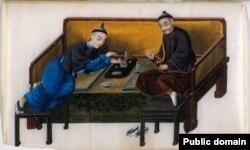 Два богатых китайца, курящих опиум. Миниатюра середины XIX века