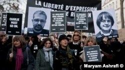 Parisdə Charlie Hebdo jurnalına dəstək yürüşü