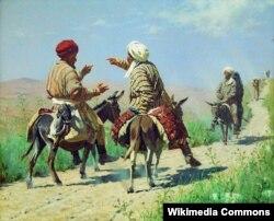 Молдо Карим жана Молдо Рахим базарга баратышат. В.В. Верещагин,1873