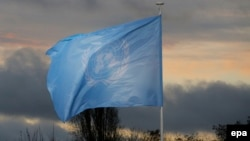 Флаг Организации Объединённых Наций.