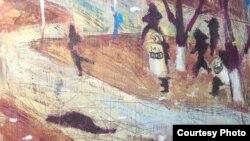 """Картина """"Жанаозен"""" художницы Сауле Сулейменовой из серии """"Города""""."""