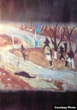 """Картина """"Жанаозен"""" художника Сауле Сулейменовой из серии """"Города""""."""
