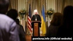Предстоятель ПЦУ митрополит Київський і всієї України Епіфаній під час зустрічі з українською громадою в Нью-Йорку, 18 жовтня 2019 року