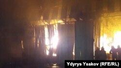 Пожар на пункте замены масла в Оше, 11 декабря 2017 г.