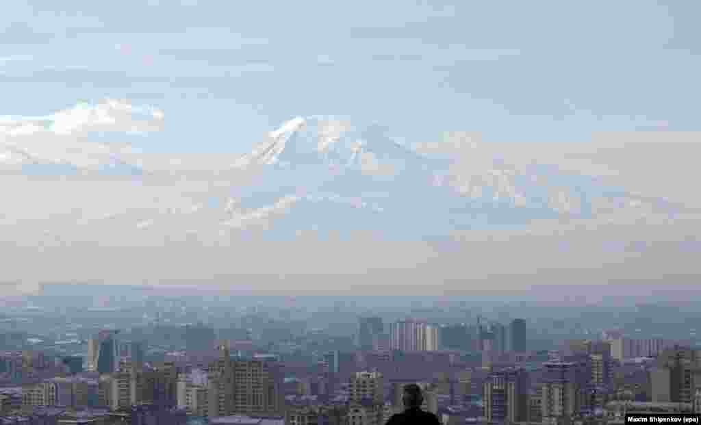 A view of the Armenian capital, Yerevan, with Mount Ararat in the distance, on February 17, a day before the country's presidential elections