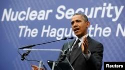 Президент США Барак Обама на пресс-конференции в Гааге (25 марта 2014 года)