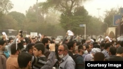Protest in southern city of Ahvaz against pollution, 9 February 2015