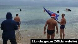 Заплыв «моржей» в Евпатории