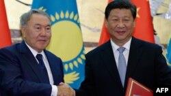 Қазақстан президенті Нұрсұлтан Назарбаев пен Қытай төрағасы Си Цзиньпин. Пекин, 31 тамыз 2015 жыл.