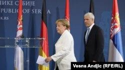 Српскиот претседател Борис Тадиќ и германската канцеларка Ангела Меркел во Белград, 23.08.2011.
