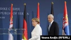 Германската канцеларка Ангела Меркел и српскиот претседател Борис Тадиќ во Белград
