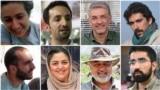The jailed activists: (clockwise from top left): Niloufar Bayani, Abdolreza Kouhpayeh, Houman Jokar, Amirhossein Khaleghi Hamidi, Taher Ghadirian, Morad Tahbaz, Sepideh Kashan Doust, and Sam Rajabi
