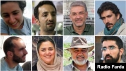 The jailed activists: (clockwise from top left): Niloufar Bayani, Abdolreza Kouhpayeh, Houman Jokar, Amirhossein Khaleghi Hamidi, Taher Ghadirian, Morad Tahbaz, Sepideh Kashan Doust, and Sam Rajabi