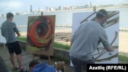 Граффити осталары мастер-класс күрсәтә