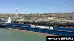 Паром «Славянин» на переправе «Порт Крым» забит военными машинами