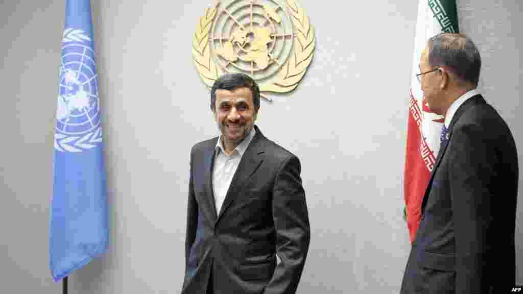 استقبال بان گیمون، دبیرکل سازمان ملل از محمود احمدینژاد- نیویورک، ۲ مهرماه ۱۳۹۱