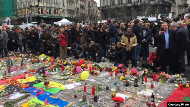 The March Against Fear had been due to begin at the central Place de La Bourse, which has turned into a shrine to the victims of the Brussels bomb attacks.