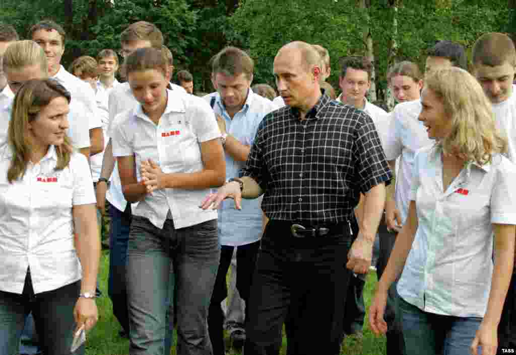 Political Camp - To Nashi members, the preferred leader for Russia is Putin, shown here speaking to camp participants in 2006. Whoever succeeds him as president is expected to pick up where he left off.