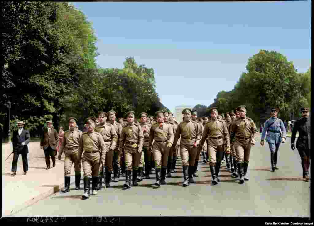 Members of the Russian Expeditionary Force march in Paris in 1916. The men were part of a brigade sent to assist France in its fight on the Western Front in World War I. Many of the soldiers would later mutiny as word spread of the Bolshevik Revolution at home in Russia.