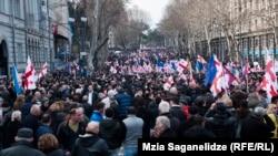 Pamje nga protesta e sotme në Tbilisi të Gjeorgjisë