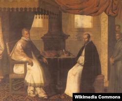Франсиско де Сурбаган. Папа Урбан II встречается со своим учителем Бруно Кельнским. 1630