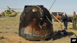 A Russian Soyuz space capsule after a landing on May 24, 2011.