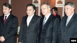 Željko Komšić, Haris Silajdždić, Olli Rehn i Nebojša Radmanović u Predsjedništvu BiH u Sarajevu, 3. decembar 2007