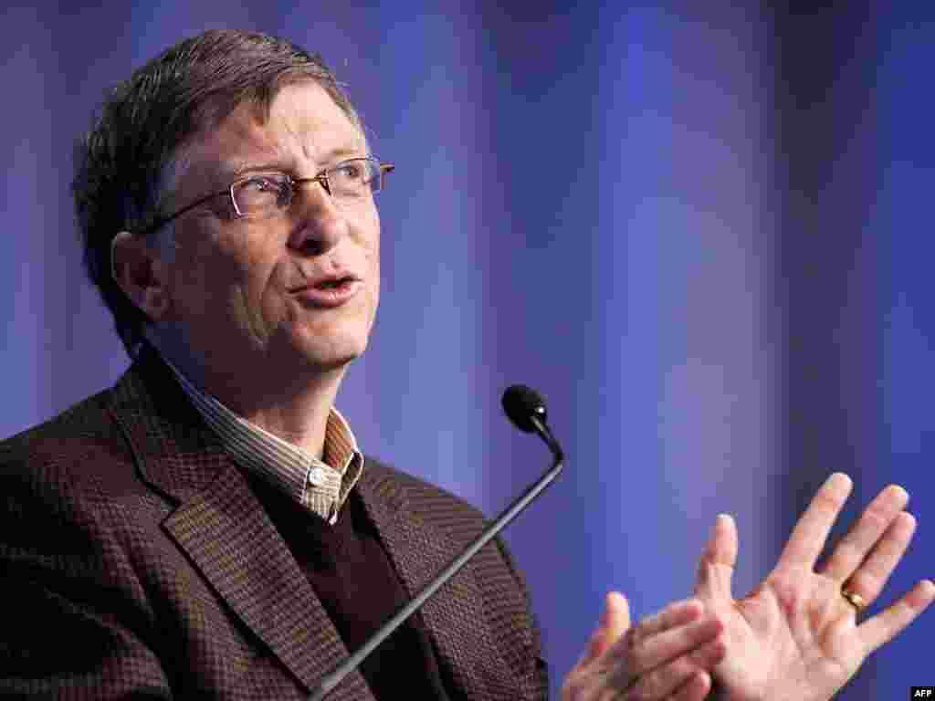 Швэйцарыя: заснавальнік карпарацыі Microsoft выступае на Сусьветным эканамічным форуме ў Давосе.