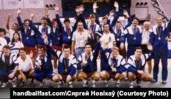 Аб'яднаная каманда алімпійскіх чэмпіёнаў-1992. Фота з сайту handballfast.com, дазвол на выкарыстаньне ад рэдактара Сяргея Новікава