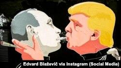 Графіті у столиці Литви: Дональд Трамп (праворуч) і Володимир Путін