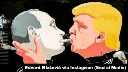 Абноўлены мурал з Уладзімерам Пуціным і Дональдам Трампам у Вільні. Фота: Edvard Blaževič via Instagram