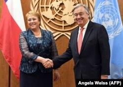 Зустріч генерального секретаря ООН Антоніу Ґутерріша з Мішель Бачелет, коли вона була ще президентом Чилі. Нью-Йорк, штаб-квартира ООН , 21 вересня 2017 року