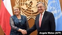Мишель Бачелет, будущий верховный комиссар ООН по правам человека, и Антониу Гутерриш, генеральный секретарь ООН.