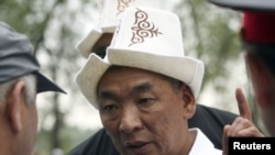 "Kyrgyz opposition leader Urmat Baryktobasov, whom a prosecutor wants to jail for ""illegally attempting to seize power."""
