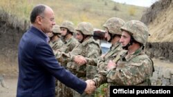 Armenia -- Defense Minister Seyran Ohanian on a visit to a military unit at the border with Azerbaijan, 19Oct,2014