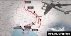 Траєкторія польотів російських бомбардувальників і винищувачів поблизу українських кордонів
