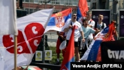 Serbs from northern Kosovo held a rally in Belgrade